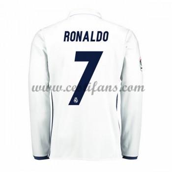 Real Madrid Fotbalové Dresy 2016-17 Ronaldo 7 Domáci Dres Dlouhým Rukávem